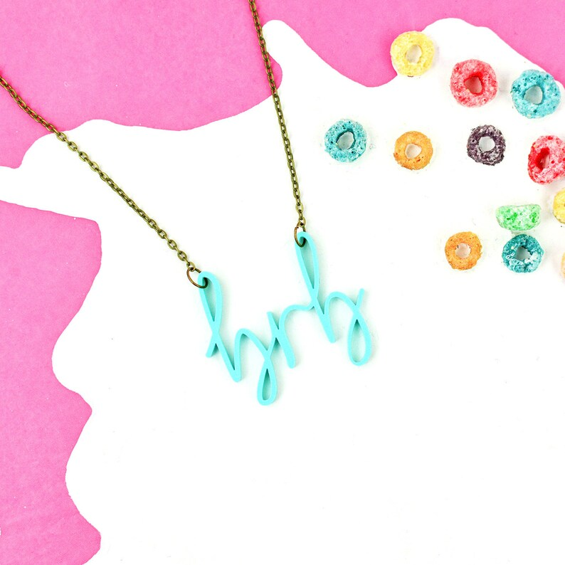 Mint Green Internet Slang Necklace BRB  90s Kid image 0