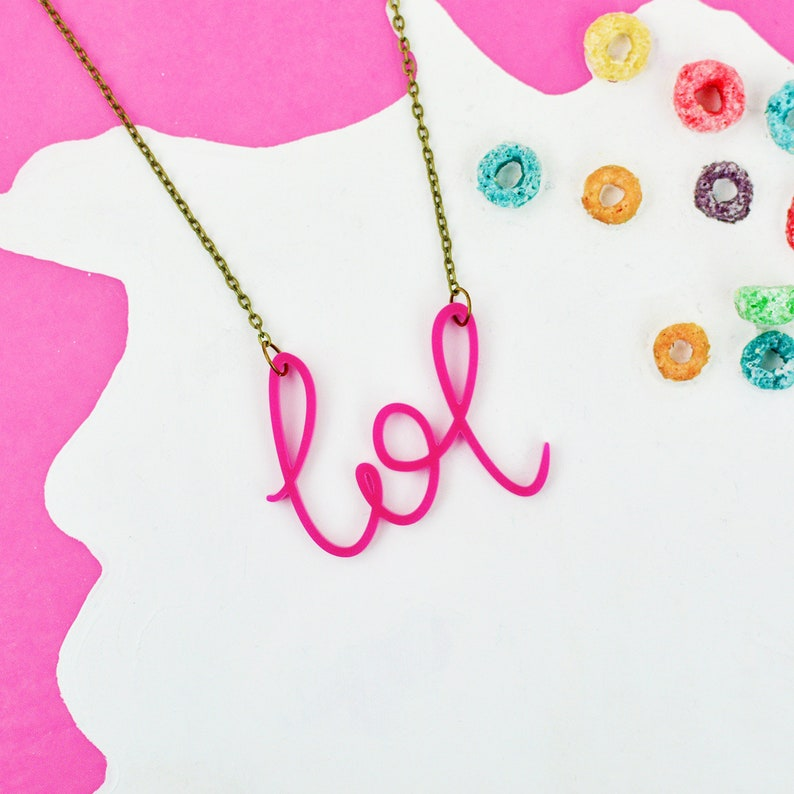 Millennial Pink Necklace   Lol Word Jewellery  Hand Lettered image 0