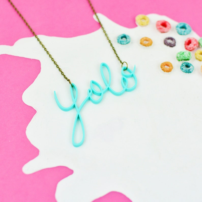 Yolo Necklace   You Only Live Once Jewellery  Mint Green image 0