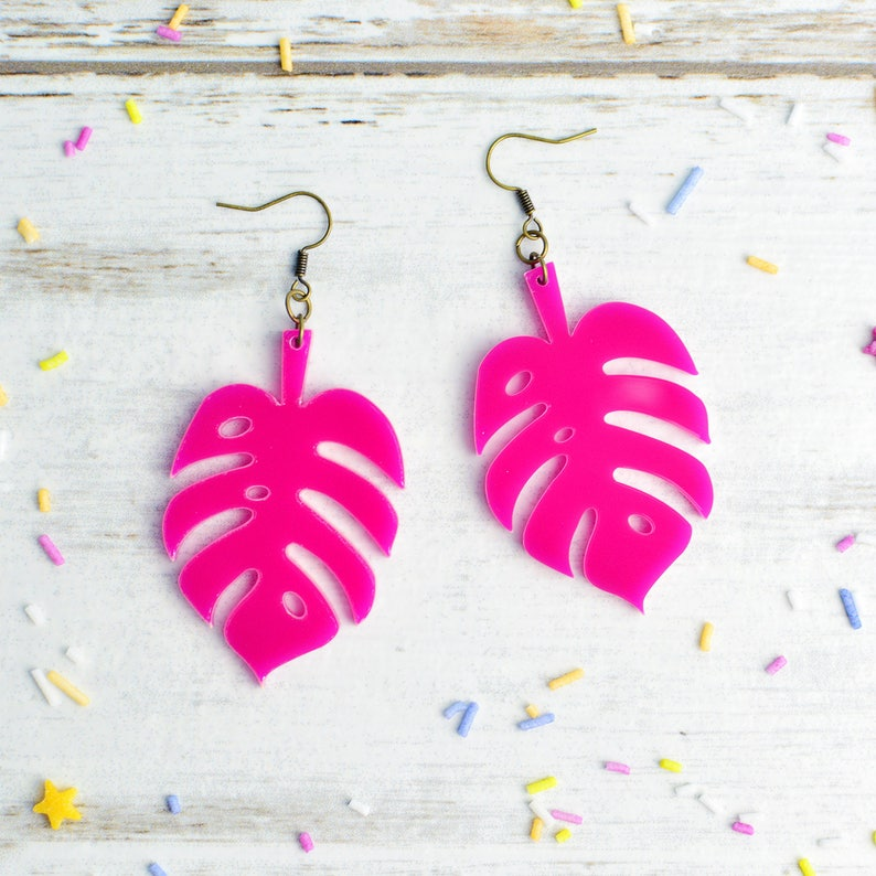 Pink Monstera Cheese Plant Earrings image 0