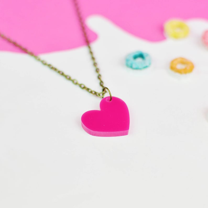 Hot Pink Heart Necklace for Valentines Day  Gifts For Her  image 0