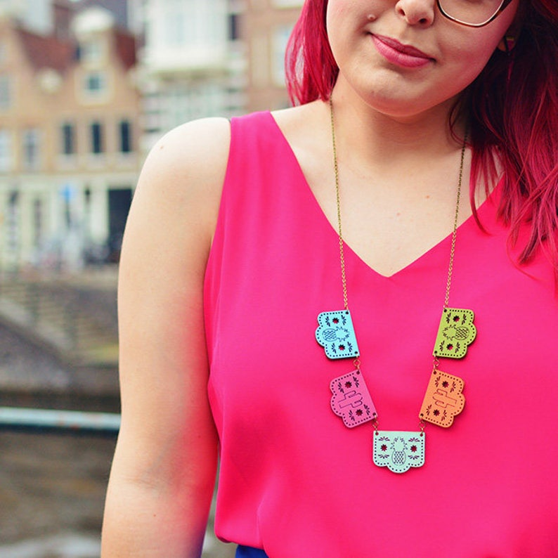 Papel Picado Necklace Day of the Dead Jewellery image 0