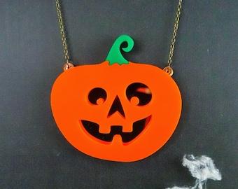 Glowing Pumpkin Halloween Necklace