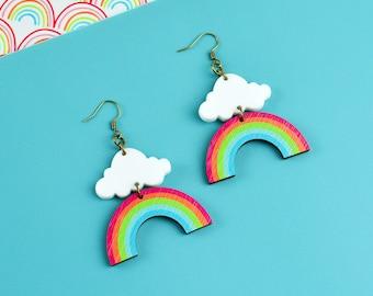 Rainbow Cloud Dangle Earrings
