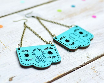 Turquoise Papel Picado Earrings, Mexican Bunting Jewellery, Dia De Los Muertos, Dangle Earrings, Nickel Free