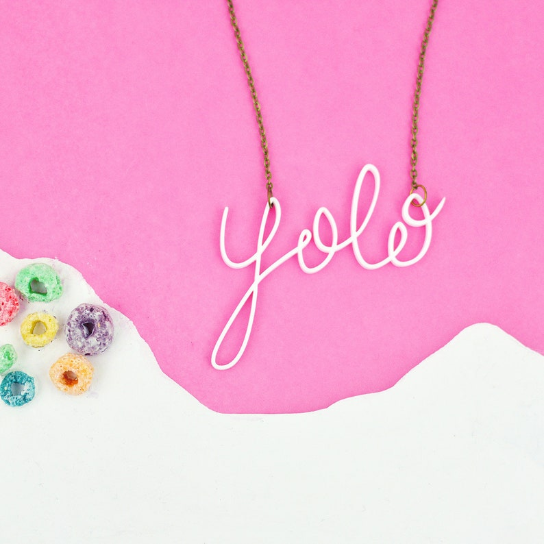 Yolo Necklace   You Only Live Once Jewellery  White Word image 0