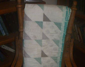 Baby or Toddler Quilt Mint Green, Grey,  and White FREE SHIPPING