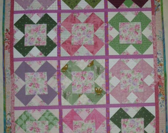 Lap Quilt Rose Garden Pink, Green, and Lavender FREE SHIPPING