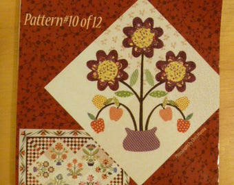 "Piece O' Cake Applique Paper Quilt Pattern With Fabric ""Flourishes"" # 10 FREE SHIPPING"