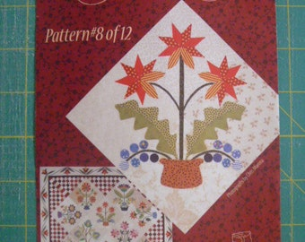 "Piece O' Cake Applique Paper Quilt Pattern With Fabric ""Flourishes"" # 8 FREE SHIPPING"
