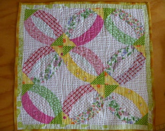 Baby Quilt Pink and Green FREE SHIPPING