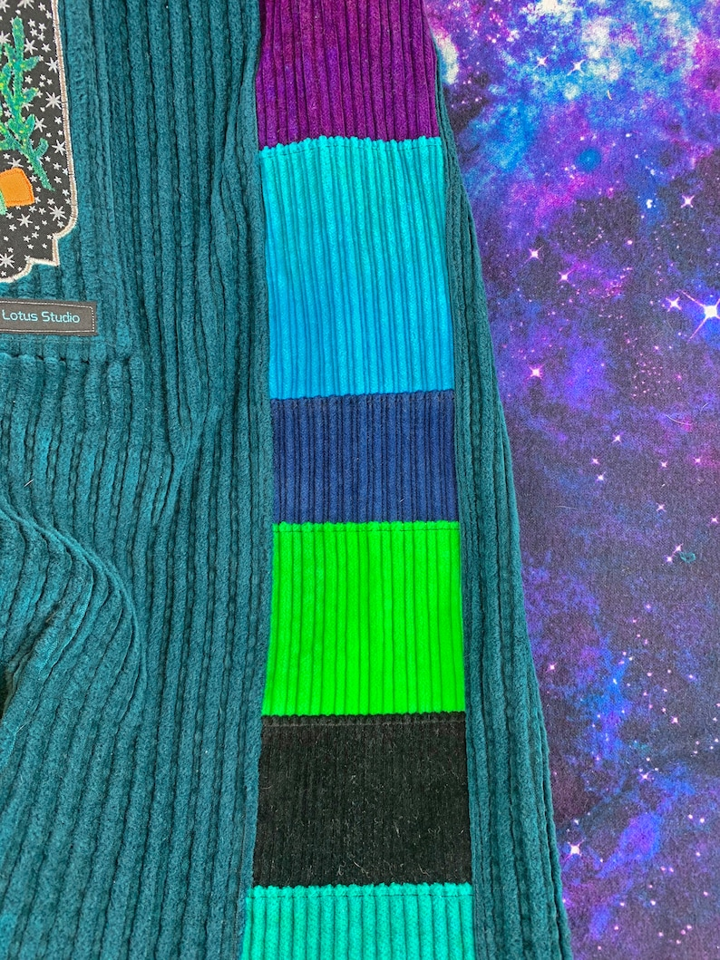 XL Hand Dyed Corduroy Patchwork Occult Magician Pants