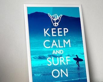Keep Calm And Surf On Beach Decor Unframed Poster or Print