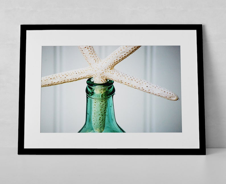 Wall Decor Photo  Vintage Sea Glass Green Bottle and White image 0