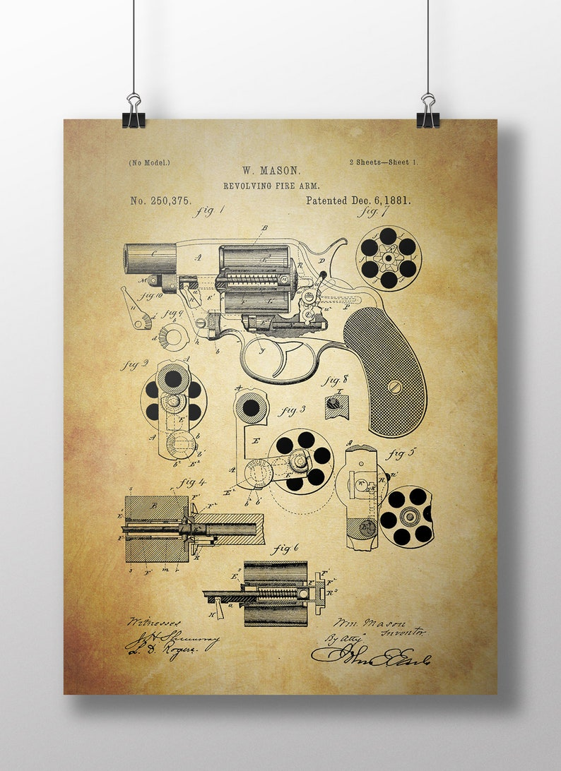 Vintage Reproduction Of A Revolver Patent image 0