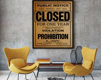 Printable US Government Prohibition Poster Reproduction