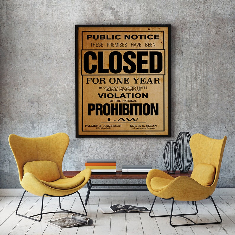 Printable US Government Prohibition Poster Reproduction image 0