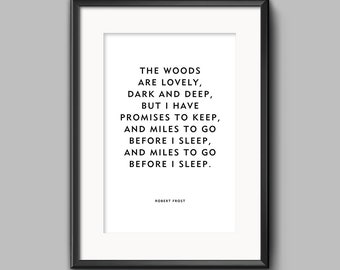 """Robert Frost """"Promises To Keep"""" Quote Unframed Poster or Print"""