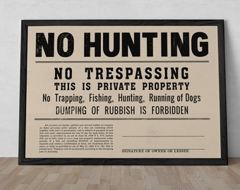 """Vintage Reproduction """"No Hunting"""" Sign Unframed Poster or Print"""
