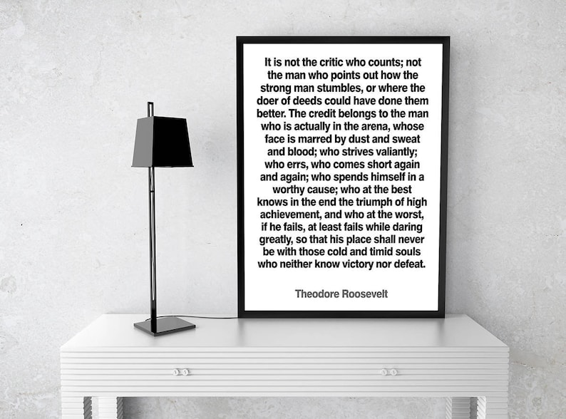 The Man in the Arena Motivational Print by Theodore Roosevelt image 0