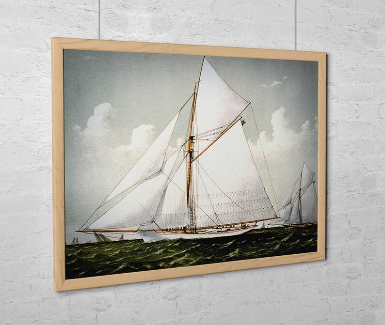 Vintage Sailboat Art Print  Sloop Yacht Volunteer image 0