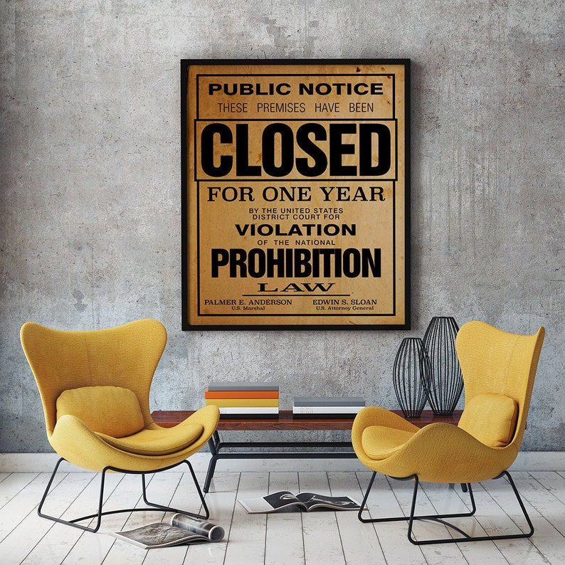 US Government Prohibition Poster Reproduction Home Decor Retro image 0
