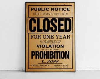 US Government Prohibition Poster Reproduction Unframed Home Decor Retro Wall Art
