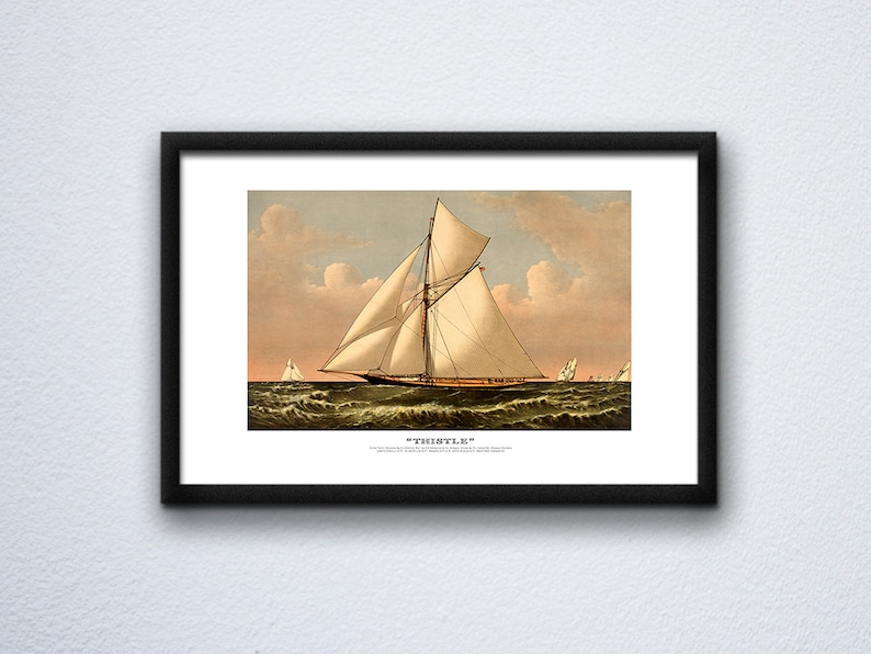Vintage Sailboat Art Reproduction  Cutter Yacht image 0