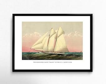 "Vintage Sailboat Art Reproduction - Schooner Yacht ""Magic"" - Wall Art Home Decor Photo Print"