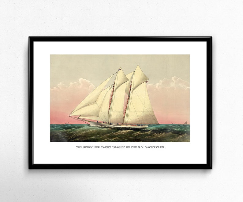 Vintage Sailboat Art Reproduction  Schooner Yacht image 0
