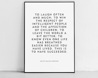 """Motivational Quote """"Laugh Often"""" Ralph Waldo Emerson Unframed Poster or Print"""