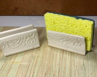 Sponge holders, pair of white with floral imprint, great for kitchen sink sponges, housewarming gift #2178
