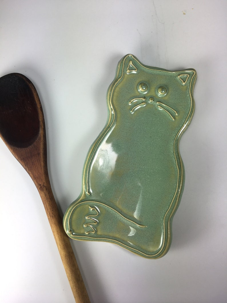 Green spoon rest free shipping cat spoon rest