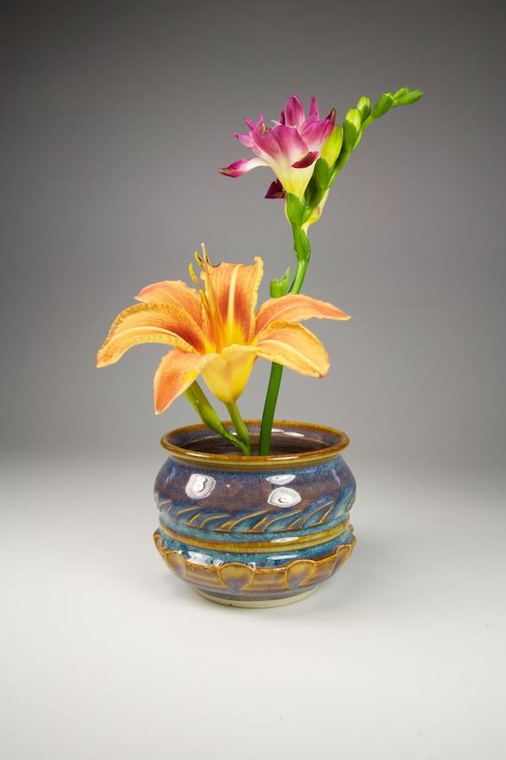 Blue And Amber Flower Vase Blue Ikebana Vase Blue Japanese Etsy