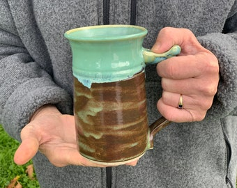 14 ounce handmade cup, brown and jade handmade mug , great for coffee, tea and beer, gift for dad, gift for brother # 2177