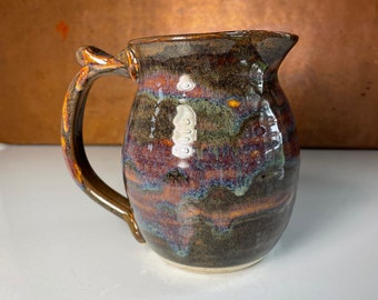 Pitcher, juice pitcher, large creamer, milk pitcher, brown, purple and amber, gift for foodie, housewarming gift, # 2155