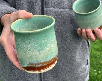 Pair of handleless whiskey cup, handleless mugs, gift for guy, gift for scotch lover # 2172