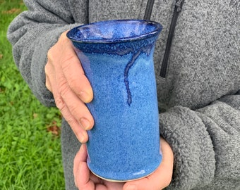 Handleless ceramic cup. one handleless coffee mug, blue cup holds12 ounces, gift for friend, gift for mom # 2176