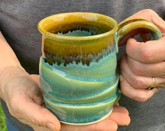 Great coffee cup, tea cup, green coffee mug, green tea mug, large handle, holds 10 ounces, gift for coffee or tea lover # 2156