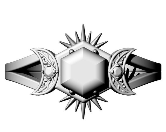 FRIGG - Diamond #6 - Rose Cut Salt & Pepper Hexagon Diamond Ring with Crescent Moons and Split Shank