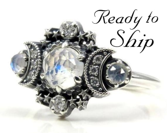 Ready to Ship Size 6 - 8 - Rose Cut Moonstone Cosmos Moon and Star Ring - Sterling Silver with White Diamonds - Boho Engagement