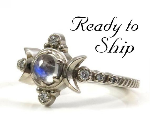 Ready to Ship Size 6 - 8 - Moonstone Compass Moon Engagement Ring - White Diamonds & 14k Palladium White Gold