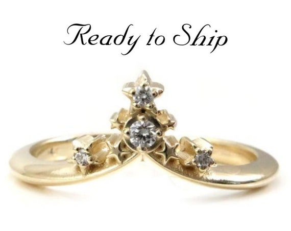 Ready to Ship Size 6 - 8 - Starseed Stacking Chevron Wedding Band - 14k Yellow Gold with White Diamonds