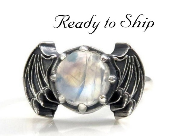 Ready to Ship Size 6 - 8 -Rainbow Moonstone Bat Wing Gothic Engagement Ring - Sterling Silver Jewelry