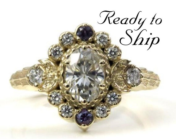 Ready to Ship Size 6 - 8 - Moon Wave Oval Halo Celestial Engagement Ring - Moissanite Center with Chatham Alexandrite Accents