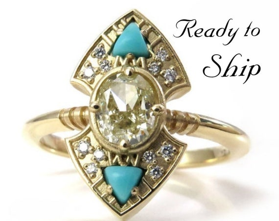 Ready to Ship Size 6 - 8 Natural Yellow Diamond Engagement Ring with Arizona Turquoise Trillions - 14k Yellow Gold