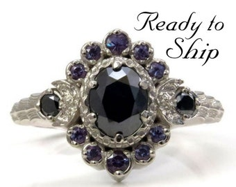 Ready to Ship Size 6 - 8 - Moon Wave Oval Halo Celestial Engagement Ring - Black Diamonds with Chatham Alexandrite Accents
