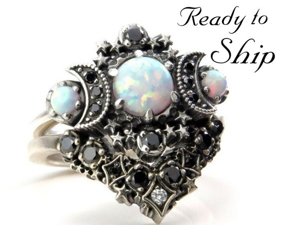 Ready to Ship Size 6 - 8 - Lab Opal Cosmos Moon and Star Ring Set - Sterling Silver with Black & White Diamonds - Gothic Lunar Engagement