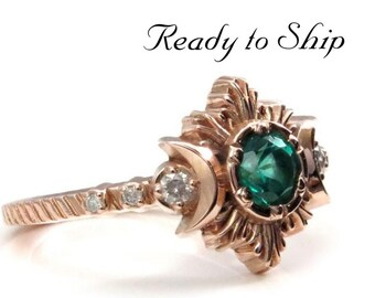 Ready to Ship Size 6 - 8 - Natural Emerald and Galaxy Diamond Moonfire Engagement Ring Set - 14k Rose Gold Ceremonial Jewelry