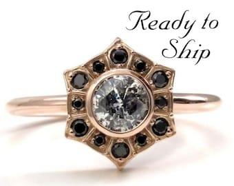 Ready to Ship Size 6 - 8 - Salt & Pepper Diamond Art Deco Halo Engagement Ring with Black Diamond Halo - 14k Rose Gold
